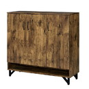 Benjara BM211130 3 Door Wooden Shoe Cabinet with 5 Storage Compartments and V Legs, Brown