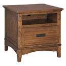 Benjara BM213299 1 Drawer Wooden End Table with 1 Storage Cubby and Power Strip, Brown