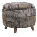 Benjara BM213967 Round Fabric Upholstered Wooden Frame Storage Ottoman, Gray