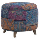 Benjara BM213968 Round Fabric Upholstered Wooden Frame Storage Ottoman, Multicolor