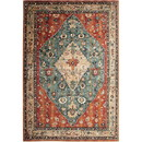 Benjara BM214123 90 X 63 Inch Fabric Rug with Tribal Pattern and Jute Backing, Red and Blue