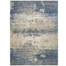 Benjara BM214140 7 X 5 Feet Power Loomed Polyester Rug with Abstract Pattern, Blue and Beige