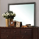 Benjara BM215194 Rectangular Grained Wooden Frame Dresser Top Mirror, Gray and Silver - BM215194