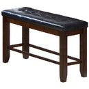 Benjara BM215458 Counter Height Bench with Button Tufted Leatherette Seat, Black and Brown - BM215458