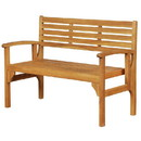 Benjara BM215651 Outdoor Wooden Frame Folding Bench with Slatted Backrest, Teak Brown