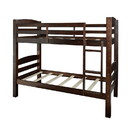Benjara BM215692 Wooden Twin Over Twin Bunk Bed with Attached Ladder, Brown