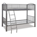 Benjara BM215731 Metal Twin Over Twin Bunk Bed with Attached Ladder, Silver