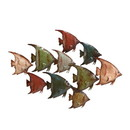Benjara BM216422 Metal Frame Fish Wall Decor with Mounting Hardware, Multicolor