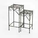 Benjara BM216726 Scrolled Metal Frame Plant Stand with Square Top, Set of 2, Black
