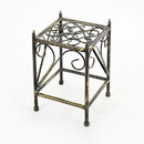 Benjara BM216728 Lattice Cut Out Square Top Plant Stand with Tubular Legs, Small, Black
