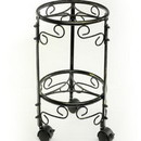 Benjara BM216742 2 Tier Scrolled Metal Frame Plant Stand with Casters, Black and Gold