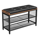 Benjara BM217075 Button Tufted Leatherette Shoe Bench with 2 Mesh Shelves, Brown and Black