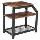 Benjara BM217086 Industrial Side Table with 1 Wooden and 1 Metal Mesh Shelf, Brown and Black
