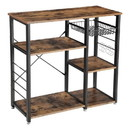 Benjara BM217095 Wood and Metal Bakers Rack with 4 Shelves and Wire Basket, Brown and Black