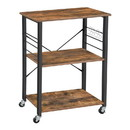 Benjara BM217096 3 Tier Wood and Metal Kitchen Cart with Casters, Rustic Brown and Black