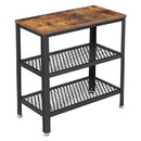 Benjara BM217110 Wood and Metal Frame Side Table with 2 Open Mesh Shelves, Brown and Black