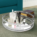 Benjara BM217297 Round Metal Tray with Mirror Panel Inserts, Silver