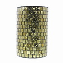 Benjara BM217849 Contemporary Glass Hurricane with Mosaic Design, Large, Gold