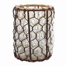 Benjara BM217850 Glass Vase with Twisted Wire Frame, Small, Rustic Brown