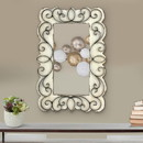 Benjara BM218345 Rectangular Wall Mirror with Wooden Frame and Metal Scrolled edges, White