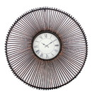 Benjara BM218347 Wall Clock with Metal Fan Guard Design Frame, Brown