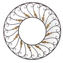 Benjara BM218356 Round Metal Wall Mirror with Scroll Details, Bronze and Gold