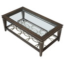 Benjara BM218418 Wooden Sofa Table with Beveled Glass Top and Tapered Legs, Brown
