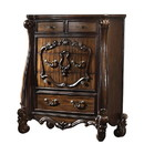 Benjara BM218449 Traditional Wooden Chest with 5 Drawers and Scrolled legs, Brown