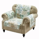 Benjara BM218724 Polyester Arm Chair Protector with Coral Print, Jade Green and White