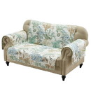 Benjara BM218725 Polyester Loveseat Protector with Coral Print, Jade Green and White