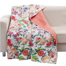 Benjara BM218739 60 x 50 Inches Microfiber Quilted Throw with Floral Print, Multicolor