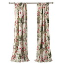 Benjara BM218747 4 Piece Window Panel Set with Floral and Butterfly Print, Multicolor