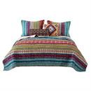 Benjara BM218792 Tribal Print Twin Quilt Set with Decorative Pillows, Multicolor