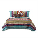 Benjara BM218794 Tribal Print King Quilt Set with Decorative Pillows, Multicolor