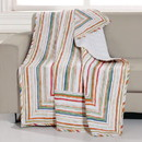 Benjara BM218795 60 x 50 Polyester Quilted Throw Blanket with Striped Print, Multicolor