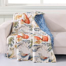Benjara BM218818 60 x 50 Inches Quilted Polyester Throw with Fox and Owls Print, Multicolor