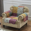Benjara BM218828 Polyester Arm Chair Protector with Paisley Print, Multicolor