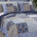 Benjara BM218839 3 Piece Cotton Full Size Quilt Set with Leaf Print, Blue and White