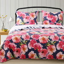 Benjara BM218850 3 Piece Cotton Full Size Quilt Set with Floral Print, Blue and Pink