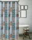 Benjara BM218852 Sea Life Print Shower Curtain with Button holes, Blue and Brown