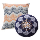 Benjara BM218879 2 Piece Decorative Pillow with Embroidered Cover, Saffron Orange and Blue