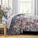 Benjara BM218896 Full Size 3 Piece Polyester Quilt Set with Floral Prints, Multicolor