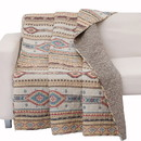 Benjara BM218902 50 X 60 Cotton and Microfiber Throw Quilt with Kilim Pattern, Multicolor