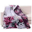 Benjara BM218919 50 X 60 Cotton and Microfiber Throw Quilt with Rose Prints, Multicolor