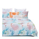 Benjara BM218929 Twin Size 2 Piece Polyester Quilt Set with Coral Prints, Multicolor