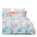 Benjara BM218930 Full Size 3 Piece Polyester Quilt Set with Coral Prints, Multicolor