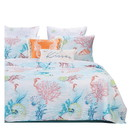 Benjara BM218931 King Size 3 Piece Polyester Quilt Set with Coral Prints, Multicolor