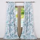 Benjara BM219364 Polyester Window Curtain with Seashell Print, Set of 2, White and Blue