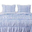 Benjara BM219397 Fabric Twin Size Quilt Set with Pleated and Ruffled Details, Blue