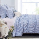 Benjara BM219398 Fabric Queen Size Quilt Set with Pleated and Ruffled Details, Blue
